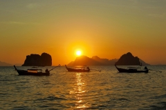 Phang Nga Bay - Boats on Sunrise